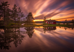 Break of dusk (nunoborges73) Tags: cabin lake norge norway reflection sunset dusk longexposure landscape nature mood water clouds trees