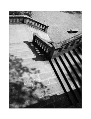 Steps to Bench (Thomas Listl) Tags: thomaslistl blackandwhite biancoenegro noiretblanc monochrome stairs stone bench geometry geometric 35mm 35mm14 lines handrail käppele contrast sunlight shadows diagonal av af