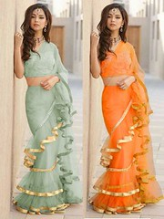 Partywear Pista-Orange Net Ruffle Combo Saree with Blouse (zeelpin) Tags: wedding partywear demand zeelpin sales morden purchase branding traditional tranding colourful popular discount b4ufashion glamour style special royalty look currant event exclusive