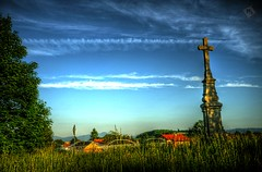 Evening countryside (TravelersOfOnePercent) Tags: cross statue countryside bluesky motion car auto ride grass tree landscape mountains evening sunset sundown adventure sonya7 sonyalphaa7 sony sonyilce7 hdr bracketing summer spring 2019 may