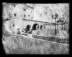 Plaça de Sant Josep de sa Talaia (Wuniatu) Tags: ilfordobscura ilford papernegativeilfordpaper alternative analog pinhole lensless eivissa church bw