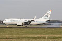 "YR-BGG | TAROM | Boeing B737-78J(WL) | CN 28442 | Built 2001 | VIE/LOWW 05/04/2019 | painted in ""Happy 60 years"" special colours Dec 2013 (Mick Planespotter) Tags: aircraft airport 2019 schwechat vienna b737 nik sharpenerpro3 yrbgg tarom boeing b73778jwl 28442 2001 vie loww 05042019 flight"