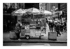 FILM - Sabrett #1 (fishyfish_arcade) Tags: 35mm analogphotography bw blackwhite blackandwhite canonsureshotz135 filmphotography filmisnotdead hp5 istillshootfilm monochrome newyork analogcamera compact film ilford mono streetphotography hotdogs