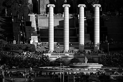 It is too early for the show (Fnikos) Tags: plaça plaza parc park parco parque palacio palace palau montjuic montjuïc fountain fontaine fuente fontana city architecture column design light shadow shadows shade sun sunny show people stairs blackandwhite monochrome absolute outside outdoor