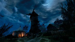 Upper Mill at Night | The Witcher 3: Wild Hunt (UraniumRailroad) Tags: witcher thewitcher3wildhunt wildhunt witcher3 uppermill windmill night moon