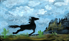 Accidental horse (Life Imitates Doodles) Tags: gouache blackpaper horse blue skies