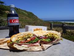 sandwich (Jef Poskanzer) Tags: sandwich salami cheddar dietcoke cookies pointreyes drakesbeach geotagged geo:lat=3802784 geo:lon=12296140 t