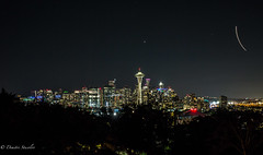 Sleepless in Seattle (Dimitri_Stucolov) Tags: seattle washington kerrypark nightsky nightimages cityscape citylights planetrails pacificnorthwest outdoors