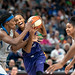 DeWanna Bonner with ball is guarded by Sylvia Fowles