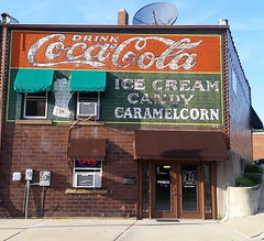 Coca-Cola ghost sign - West Chicago IL (happily Evan after) Tags: cocacola ghost sign west chicago il coca cola mural image paint painted vintage old product soda ice cream canday caramel corn building drink coke ad advertisement