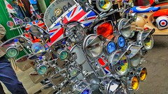 Mods 4 Ever. (ManOfYorkshire) Tags: ra04mod scooter vespa piaggio px125 brighton lanes sussex bankholiday display onshow street lights headlight festooned 1964 2019 2004 mod culture mods