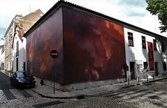 lost in the clouds (*F~) Tags: lisboa portugal ametadedocéu lamoitiéduciel museum light shadows corner streets architecture exhibition art women wall red rouge clouds nuages nuvens
