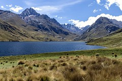 Beautiful lake Querococha on the road from Huaraz to Chavin de Huantar, Peru