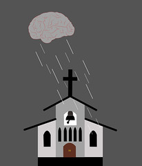 illustration of a cloud as a brain raining with reason over the church (illustrationvintage) Tags: concept conceptual symbol creative mind abstract design human isolated graphic brainstorm medical medicine inspiration disease health icon knowledge planning computer learn connection digital thinking think network solution education art innovation business intelligence creativity science head technology illustration idea brain reason rationality faith christinaity jesus belief believing rain rainy church