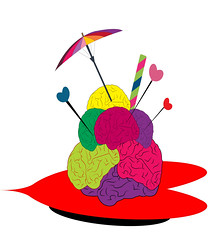 illustration of an icecream made of brains (illustrationvintage) Tags: concept conceptual summer inspiration abstract art yellow illustration digital computer creativity idea design education funny colorful comic technology graphic symbol head think creative icon brain science medical business intelligence health human planning brainstorm mind thinking knowledge medicine network innovation learn solution isolated connection disease icescream