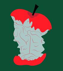 illustration of an apple brain eaten (illustrationvintage) Tags: thinking cognition intelligence reason rationality brain eaten apple knowledge knowing mental mentalhelath psychology psychological concept conceptual minimalism