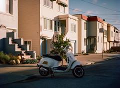 Sunset District, San Francisco, California (bior) Tags: red pentax645nii pentax645 pentax 645 mediumformat 120 sanfrancisco sunsetdistrict portra160nc expiredfilm kodakportra scooter street