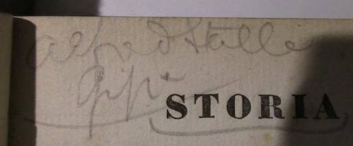 Penn Libraries DG538 .B68 1832: Inscription