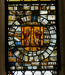 St Peter and St Paul's Church, Clare, Suffolk (beery) Tags: church clare suffolk stpeter stpaul england arms heraldry window stainedglass eastwindow