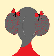 illustration of a girl with hair style as brains and ribbon as hearts (illustrationvintage) Tags: concept conceptual symbol creative mind abstract design human isolated graphic brainstorm medical medicine inspiration disease health icon knowledge planning computer learn connection digital thinking think network solution education art innovation business intelligence creativity science head technology illustration idea brain comb combing brushing hair funny comic