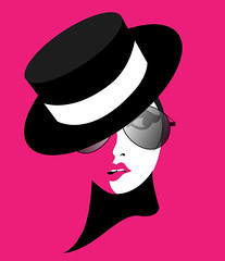 illustration of a funky girl with aviator glassesss (illustrationvintage) Tags: pink girl funky glasses hat stylish fashion model woman portrait cabaret illustration creative drawing funny comic surprise puzzled mysterious