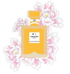 illustration of chanel n5 perfume (illustrationvintage) Tags: parfume chanel yellow peony paris parisian coco flowers fashion shop