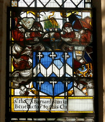 St Peter and St Paul's Church, Clare, Suffolk (beery) Tags: church clare suffolk stpeter stpaul england arms heraldry window stainedglass eastwindow thomasbarnardiston barnardiston fesse dancettee crosslet