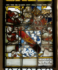 St Peter and St Paul's Church, Clare, Suffolk (beery) Tags: church clare suffolk stpeter stpaul england arms heraldry window stainedglass eastwindow haberdasherscompany barrynebuly passantguardant lion