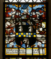 St Peter and St Paul's Church, Clare, Suffolk (beery) Tags: church clare suffolk stpeter stpaul england arms heraldry window stainedglass eastwindow higham johnhigham fesse countercomponee