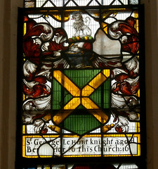 St Peter and St Paul's Church, Clare, Suffolk (beery) Tags: church clare suffolk stpeter stpaul england arms heraldry window stainedglass eastwindow hunt georgelehunt vertasaltireor lionsejant