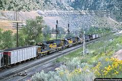 Mid-Train Helpers (jamesbelmont) Tags: riogrande drgw tunnelmotor emd sd40t2 swinghelper helper mannedhelper coal pricecanyon utah utahrailwayjunction train railroad railway locomotive