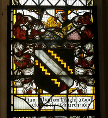 St Peter and St Paul's Church, Clare, Suffolk (beery) Tags: church clare suffolk stpeter stpaul england arms heraldry window stainedglass eastwindow clopton williamclopton cotise dancettee