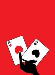 illustration of playing cards (illustrationvintage) Tags: luck good happy greeting illustration poker casino gambling betting money cards gambler game playing chance club fun goodluck hand sign success design bet fortune lucky symbol celebration red background card