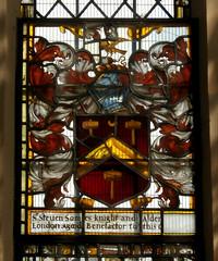 St Peter and St Paul's Church, Clare, Suffolk (beery) Tags: church clare suffolk stpeter stpaul england arms heraldry window stainedglass eastwindow stevensoames soames lordmayoroflondon chevron