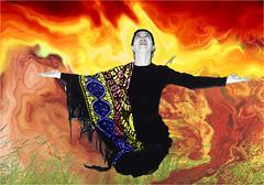 REMY CAROLE 1991 EXTASE (REMYRO) Tags: concept surréaliste sentiment noir et blanc colorisé extase joie