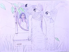 Dreaming-in-color (Alex Hiam) Tags: art drawing skwetch landscape dreamscape dream girl woman mirror reflection birds grass chickadee mountains meadow field sky imagined world future nature