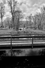 Two Bridges (dreadtread) Tags: outdoors bridges rustic park water wisconsin bw
