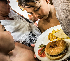 You can take it with you (Melissa Maples) Tags: antalya turkey türkiye asia 土耳其 apple iphone iphonex cameraphone summer sahilantalyayaşamparkı turks children kids boys lift elevator chips plate burger hamburger food