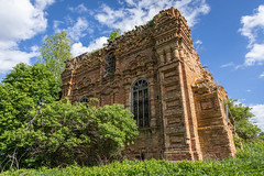 Church ruins. (Oleg.A) Tags: old shadow summer sun tree brick abandoned church window nature grass clouds landscape evening russia outdoor sunny destroyed ruined sky building wall architecture landscapes countryside spring exterior village orthodox penzaregion penzaoblast zasechnyy