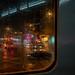 Night tram in the rain