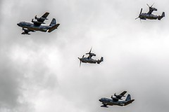 Hercules and Osprey flyover (nickym6274) Tags: imperialwarmuseumduxford iwm duxford cambridgeshire uk dday 75thanniversary daksoverduxford hercules osprey flypast aeroplane aircraft dday75