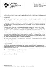 Letter from London Air ambulance to local residents June 2919 (Carol B London) Tags: stepneygreen stepneygreenpark laa airambulance rlh bartscharity londonairambulance stepney temporary helipad hospital trauma helicopter pilot