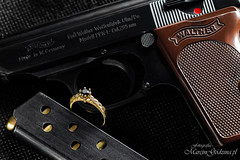 Diamonds Are Forever (Big Foot PL) Tags: diamond ring black gold 14k carat 585 gun walther ppk ppkl browning ammo pistol firearm jewelry jewellery engagement james bond 007