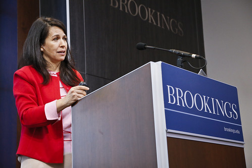 Marcela Escobari, senior fellow in the Center for Universal Education at Brookings, introduces the fourth panel.