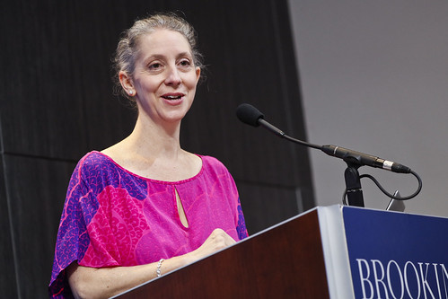 Rebecca Winthrop, Director of the Center for Universal Education and Senior Fellow in Global Economy and Development at the Brookings Institution, welcomes audience members to the symposium.