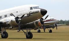 Dakotas nose to nose at EGSU (kitmasterbloke) Tags: egsu duxford daksoverduxford dc3 douglas c47 c53 aircraft airliner propliner ww2 dday