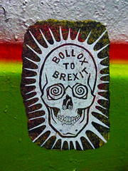 Bollox To Brexit (Steve Taylor (Photography)) Tags: bolloxtobrexit ub skull hypnotise graffiti stencil streetart brown green red white yellow smile teeth paint