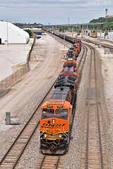 Southbound Transfer in Kansas City, MO (Grant Goertzen) Tags: bnsf railway railroad locomotive train trains south southbound transfer freight emd ge cp yard job kansas city missouri