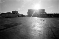 market roof (generalzorn) Tags: pentaxk1000 vivitar19mm film ilfordhp5 coventry city urban concrete