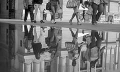 Reflections in Dilworth Park, Philadelphia (ksmallon) Tags: water bw blackandwhite bnw monochrome reflection walking people philadelphia phila sun city dilworthpark streetphotography streetphoto